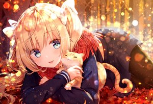 Rating: Safe Score: 117 Tags: aliasing animal autumn blonde_hair cat gomano_rio leaves long_hair original pantyhose scarf school_uniform skirt twintails User: BattlequeenYume