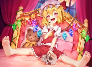 Rating: Safe Score: 57 Tags: barefoot bed blonde_hair blush flandre_scarlet hachinatsu hat loli red_eyes short_hair skirt skull touhou vampire wings wristwear User: BattlequeenYume