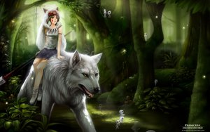 Rating: Safe Score: 145 Tags: animal brown_eyes brown_hair forest headdress mononoke_hime san signed spear syncaidia tree weapon wolf User: gnarf1975