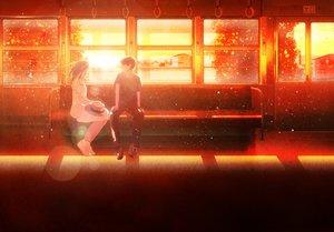 Rating: Safe Score: 8 Tags: male nakamura_yukihiro original sunset train User: FormX