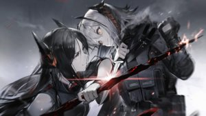 Rating: Safe Score: 40 Tags: 2girls arknights black_hair cape game_cg gloves gradient gray_hair horns ines_(arknights) knife liduke long_hair orange_eyes pantyhose polychromatic short_hair w_(arknights) yellow_eyes User: Nepcoheart