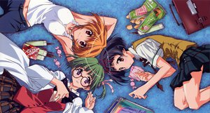 Rating: Safe Score: 7 Tags: book food glasses green_hair hirasawa_hiroko horiide_mika ibuse_okie kakyuusei kakyuusei_2 kurashima_tomoyasu red_eyes school_uniform User: Oyashiro-sama