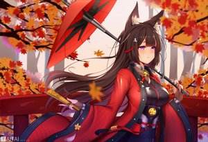 Rating: Safe Score: 138 Tags: amagi_(azur_lane) animal_ears anthropomorphism autumn azur_lane brown_hair fan foxgirl gloves japanese_clothes leaves long_hair purple_eyes taitai tears watermark User: Dreista