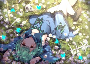 Rating: Safe Score: 78 Tags: blush brown_eyes butterfly dress flat_chest flowers grass green_hair hololive niwasane_(saneatsu03) signed skull uruha_rushia User: BattlequeenYume