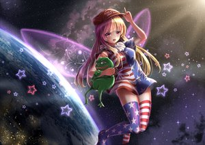 Rating: Safe Score: 61 Tags: animal blonde_hair clownpiece fairy fii_fii_(feefeeowo) frog hat red_eyes space thighhighs touhou wings User: gnarf1975