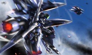 Rating: Safe Score: 18 Tags: blue_hair gundam_x3 mecha mechagirl robot short_hair sky User: RyuZU