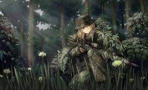 Rating: Safe Score: 151 Tags: blonde_hair boots flowers forest gloves grass green_eyes gun hat leaves long_hair military original tc1995 tree uniform weapon User: Flandre93