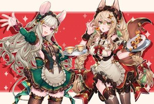 Rating: Safe Score: 64 Tags: 2girls animal_ears apron blonde_hair breasts drink food foxgirl garter_belt gray_hair green_eyes headdress katagiri_hachigou long_hair maid mousegirl original red_eyes sideboob stockings tail thighhighs wink wristwear zettai_ryouiki User: Fepple