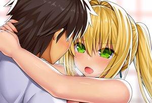 Rating: Safe Score: 69 Tags: asamura_hiori blonde_hair brown_hair close fang fate/grand_order fate_(series) fujimaru_ritsuka_(male) green_eyes hug kiss long_hair male nero_claudius_(fate) short_hair twintails User: RyuZU