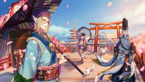 Rating: Safe Score: 24 Tags: abe_no_seimei_(onmyouji) animal blonde_hair brown_eyes brown_hair building cherry_blossoms clouds fox gloves hat headdress japanese_clothes kagura_(onmyouji) kimono kokutan_kitsune loli long_hair male multiple_tails onmyouji petals pointed_ears red_eyes short_hair sky tagme_(character) tail tattoo torii umbrella white_hair wink User: otaku_emmy