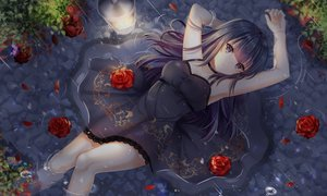 Rating: Safe Score: 294 Tags: black_eyes black_hair breasts cleavage dress ecu8080 flowers long_hair original rain rose summer_dress tears water User: BattlequeenYume