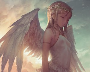 Rating: Safe Score: 97 Tags: angel blonde_hair breasts clouds cropped erect_nipples headdress loli no_bra original popobobo short_hair sky wings User: RyuZU
