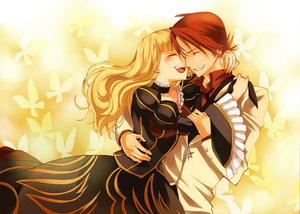 Rating: Safe Score: 25 Tags: beatrice blonde_hair butterfly hug male red_hair umineko_no_naku_koro_ni ushiromiya_battler User: HawthorneKitty