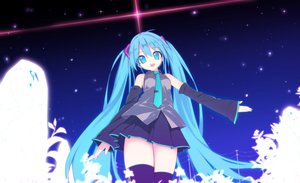 Rating: Safe Score: 71 Tags: blue_eyes blue_hair hatsune_miku long_hair pochi_(potihouse) thighhighs twintails vocaloid zettai_ryouiki User: FormX