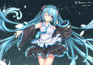 Rating: Safe Score: 31 Tags: aihime_riyo aqua_eyes aqua_hair hatsune_miku long_hair signed skirt tie twintails vocaloid wink User: RyuZU