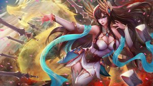 Rating: Safe Score: 28 Tags: blue_eyes brown_hair irelia kaze_no_gyouja league_of_legends long_hair no_bra signed weapon User: sadodere-chan