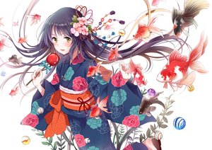Rating: Safe Score: 67 Tags: animal apple black_hair candy fish flowers food fruit green_eyes japanese_clothes long_hair original white yatomi yukata User: RyuZU