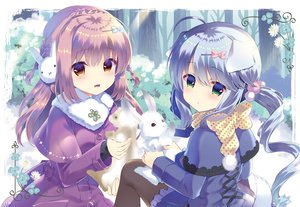 Rating: Safe Score: 61 Tags: 2girls animal animal_ears blue_hair bow braids doggirl green_eyes lolita_fashion long_hair orange_eyes original pantyhose purple_hair rabbit snow tail takashina_asahi twintails winter User: RyuZU