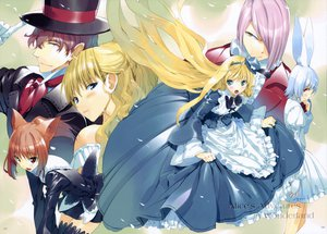 Rating: Safe Score: 53 Tags: alice_in_wonderland alice_(wonderland) animal_ears bunny_ears bunnygirl catgirl cheshire_cat dress fancy_fantasia march_hare queen_of_hearts ueda_ryou User: Maho