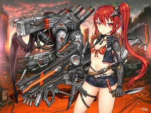 Rating: Safe Score: 40 Tags: bikini_top gia gun knife long_hair orange_eyes original ponytail red_hair shorts signed techgirl weapon User: SciFi