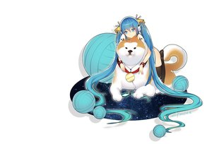 Rating: Safe Score: 52 Tags: animal aqua_eyes aqua_hair dog hatsune_miku headphones lian_yao long_hair phone signed thighhighs twintails vocaloid white User: RyuZU