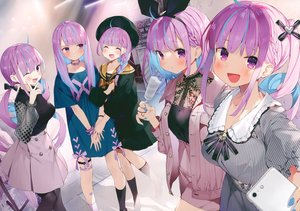 Rating: Safe Score: 71 Tags: blush bow braids collar dress group hat headband hololive kneehighs long_hair matsui_hiroaki minato_aqua pantyhose phone popsicle purple_eyes scan socks twintails User: mattiasc02