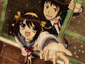 Rating: Safe Score: 165 Tags: bow brown_eyes brown_hair headband kyon male ribbons school_uniform short_hair snow suzumiya_haruhi suzumiya_haruhi_no_yuutsu tie User: Oyashiro-sama