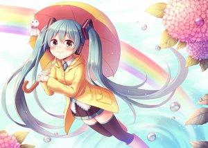 Rating: Safe Score: 37 Tags: amane_kurumi blush boots flowers hatsune_miku leaves rainbow skirt thighhighs twintails umbrella vocaloid water zettai_ryouiki User: Flandre93