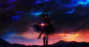 Rating: Safe Score: 153 Tags: black_hair boots clouds kazari_tayu kneehighs original purple_eyes scarf scenic short_hair sky User: Flandre93