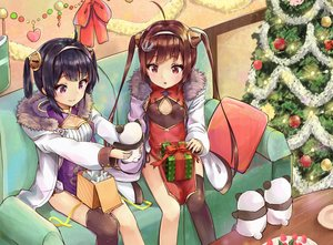 Rating: Safe Score: 34 Tags: 2girls animal anthropomorphism azur_lane bear black_hair blush brown_hair chinese_clothes chinese_dress christmas couch long_hair ning_hai_(azur_lane) panda ping_hai_(azur_lane) purple_eyes racchi. red_eyes short_hair tree twintails User: RyuZU