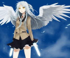 Rating: Safe Score: 57 Tags: angel_beats! long_hair skirt tachibana_kanade weapon white_hair wings yellow_eyes User: Tensa