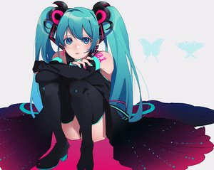 Rating: Safe Score: 30 Tags: aqua_eyes aqua_hair boots dress hatsune_miku long_hair motu0505 thighhighs twintails vocaloid User: FormX