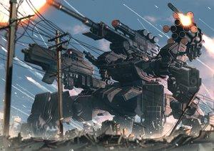 Rating: Safe Score: 57 Tags: clouds combat_vehicle gun mecha military nobody original rapama sky weapon User: RyuZU