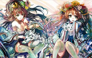 Rating: Safe Score: 65 Tags: 2girls animal breasts cleavage flowers japanese_clothes long_hair original ryuuri_susuki thighhighs tiger User: opai