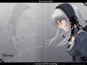 Rating: Safe Score: 8 Tags: gothic pink_eyes ribbons rozen_maiden suigintou water white_hair wings User: Oyashiro-sama