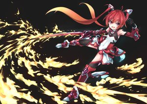 Rating: Safe Score: 30 Tags: bodysuit elbow_gloves fire gloves long_hair mitsuka_souji ore_twintail_ni_narimasu pink_eyes red_hair sword tagme_(artist) tail_red thighhighs twintails weapon User: luckyluna