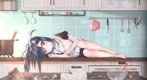 Rating: Safe Score: 139 Tags: apron barefoot black_hair cake cuna_(qunya) food long_hair maid original pink_eyes User: sadodere-chan
