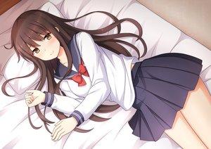 Rating: Safe Score: 56 Tags: bed blush bow brown_eyes brown_hair long_hair nakamura_sumikage original school_uniform skirt User: BattlequeenYume