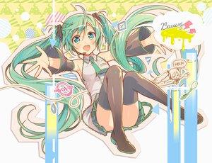 Rating: Safe Score: 72 Tags: aqua_eyes aqua_hair boots hatsune_miku long_hair murakami_yuichi skirt thighhighs tie twintails vocaloid User: mattiasc02