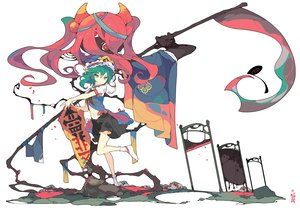 Rating: Safe Score: 105 Tags: green_eyes green_hair hat ideolo onozuka_komachi red_eyes red_hair scythe shikieiki_yamaxanadu skirt socks touhou weapon white User: Dreista