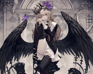 Rating: Safe Score: 110 Tags: blonde_hair blue_eyes butterfly cropped crown flowers gothic long_hair original ribbons rose skirt thighhighs wanke wings User: mattiasc02