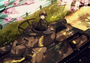 Rating: Safe Score: 24 Tags: all_male axis_powers_hetalia brown_eyes brown_hair cherry_blossoms combat_vehicle gloves goggles grass japan_(hetalia) male military petals shade short_hair toyosu_toyosu water User: otaku_emmy