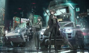 Rating: Safe Score: 52 Tags: black_eyes black_hair building city gray_eyes gun long_hair military night original police rain short_hair staff swav water weapon User: SciFi