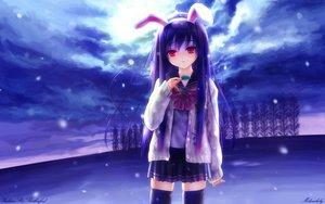 Rating: Safe Score: 185 Tags: animal_ears bunnygirl clouds goto_p purple_hair red_eyes reisen_udongein_inaba skirt sky snow thighhighs touhou zettai_ryouiki User: 秀悟