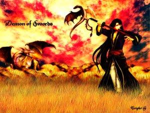 Rating: Safe Score: 31 Tags: brown_hair dragon fire fire_emblem karel_(fire_emblem) long_hair sword tripleg weapon wings User: Oyashiro-sama