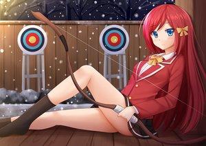 Rating: Safe Score: 13 Tags: aqua_eyes blush bow bow_(weapon) kazenokaze kneehighs long_hair night original red_hair seifuku snow tree weapon User: luckyluna