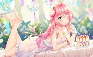 Rating: Safe Score: 16 Tags: barefoot blue_eyes cake food ju_topia long_hair original pink_hair signed waifu2x User: sadodere-chan