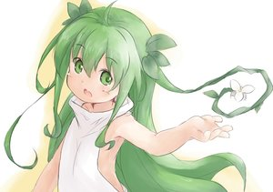 Rating: Safe Score: 28 Tags: baigao flowers green_eyes green_hair leaves loli long_hair original sketch User: otaku_emmy