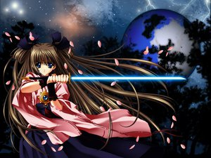 Rating: Safe Score: 30 Tags: carnelian japanese_clothes miko petals sword weapon User: Oyashiro-sama