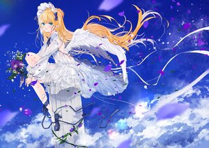 Rating: Safe Score: 39 Tags: blonde_hair clouds dress flowers headdress lolita_fashion long_hair original pointed_ears sky umi_no_mizu wings User: BattlequeenYume